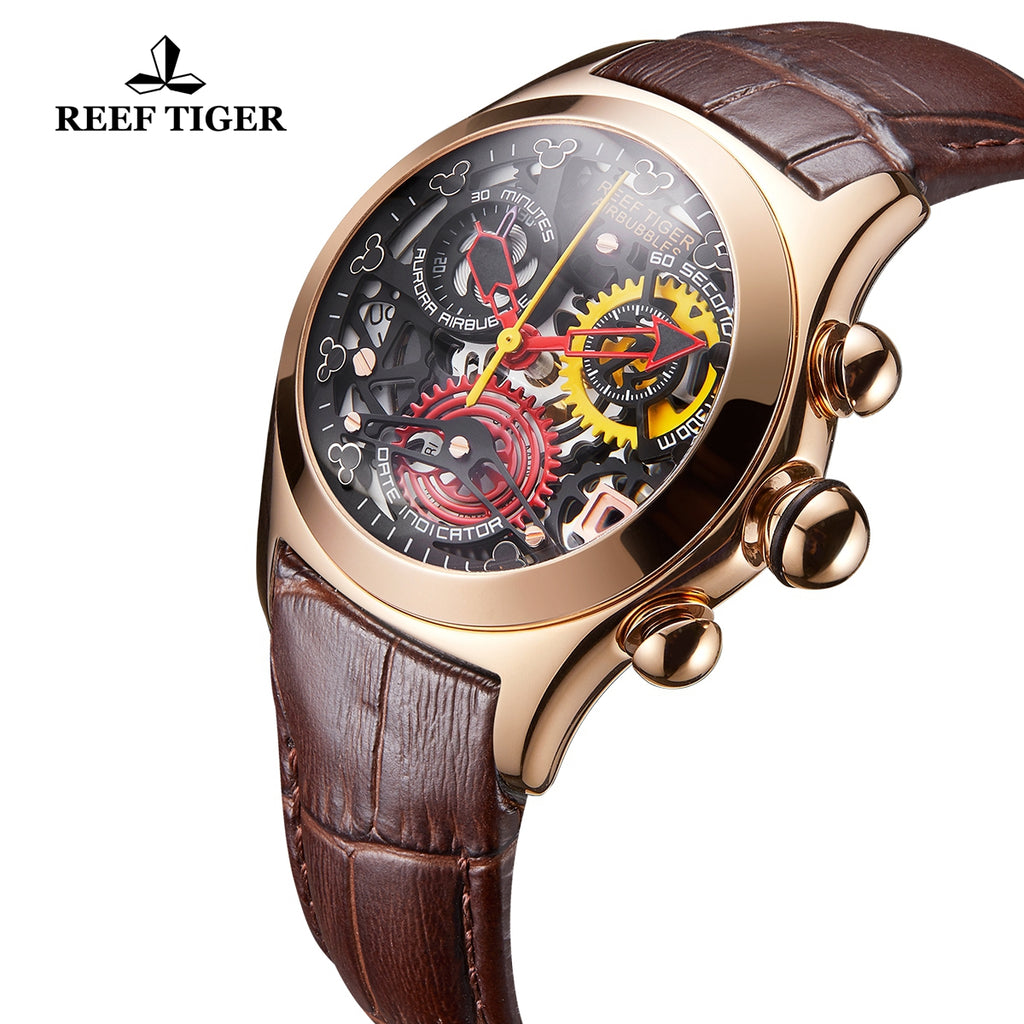 Reef Tiger Quartz Watches Rose Gold Leather Strap with Skeleton Dial Watch RGA7181