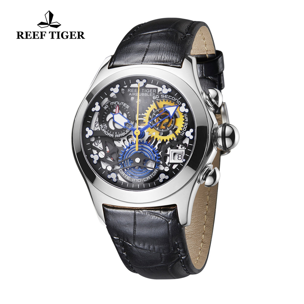 Reef Tiger Casual Steel Leather Strap Womens Watch RGA7181