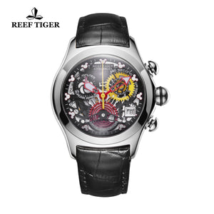 Reef Tiger Casual Fashion Steel Leather Strap Womens Watch RGA7181