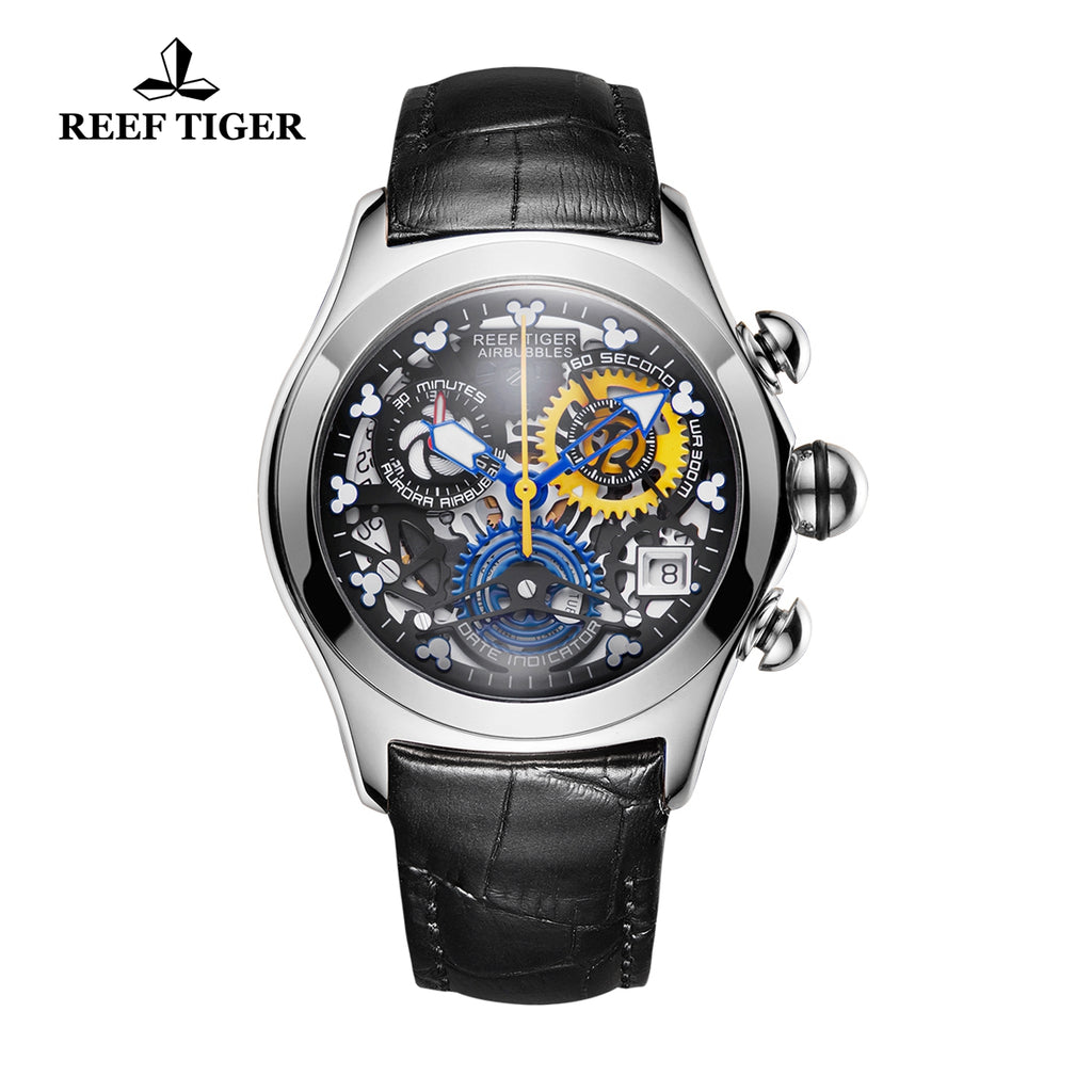 Reef Tiger Quartz Watches Steel Leather Strap with Skeleton Dial Watch RGA7181
