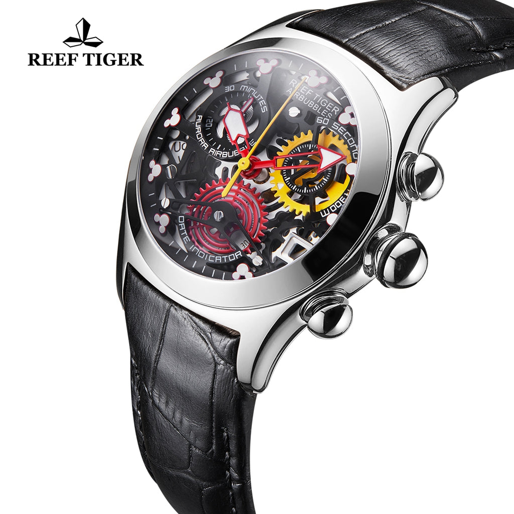 Reef Tiger Quartz Steel Watches Leather Strap with Skeleton Dial Watch RGA7181