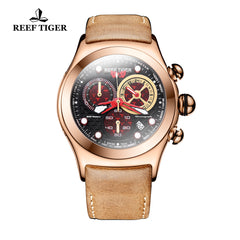 Reef Tiger Aurora Dragon Mens Rose Gold Sport Watch Leather Strap with Date RGA782
