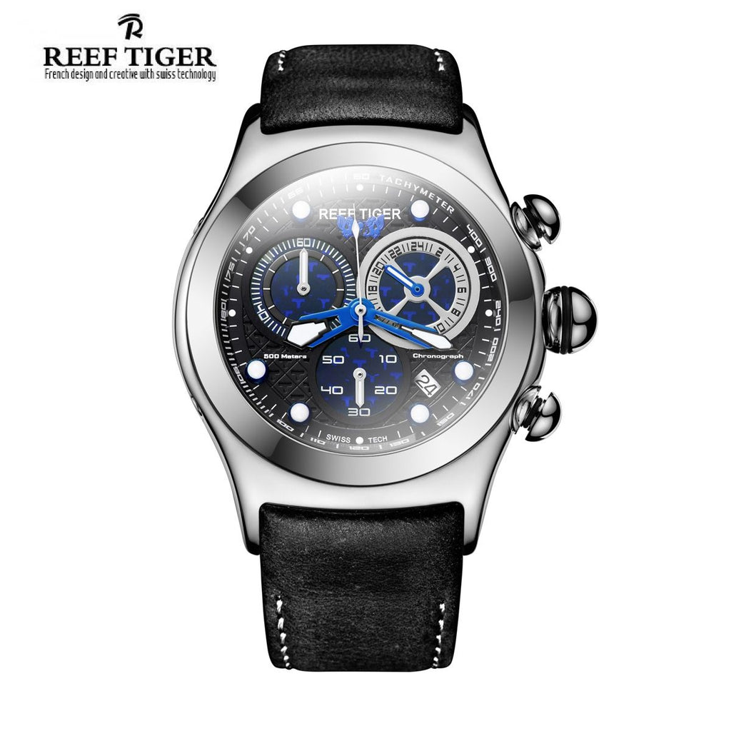 Reef Tiger Aurora Dragon Men's Steel Fashion Watches Leather Strap with Date Sport Watch RGA782