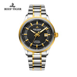 Reef Tiger Dress Luminous Date Yellow Gold Steel Black Dial Watches RGA8015