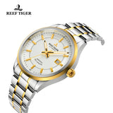 Reef Tiger Dress Luminous Date Yellow Gold Steel White Dial Watches RGA8015