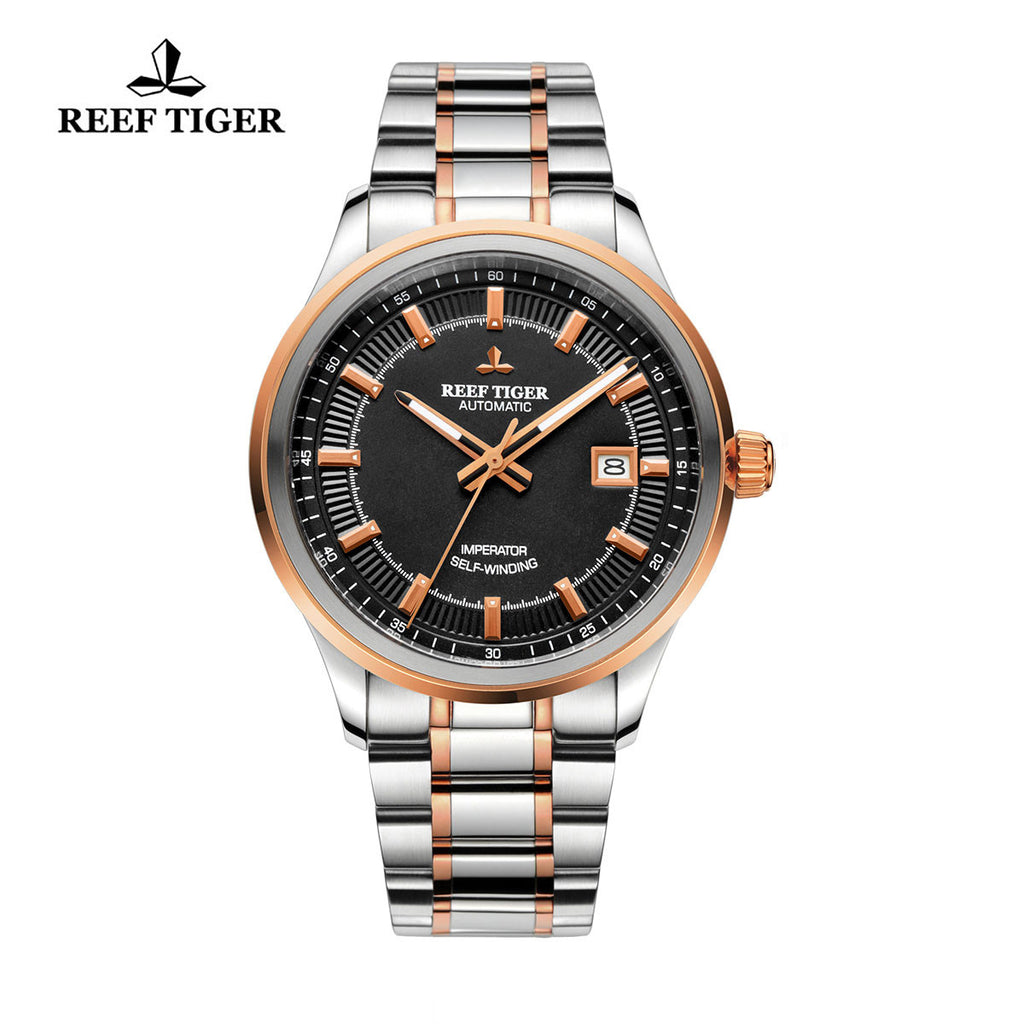 Reef Tiger Dress Luminous Date Rose Gold Steel Black Dial Watches RGA8015