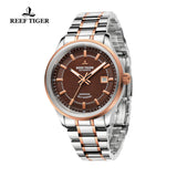 Reef Tiger Dress Luminous Date Rose Gold Steel Brown Dial Watches RGA8015