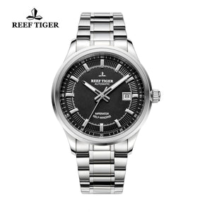 Reef Tiger Dress Luminous Date Steel Black Dial Watches RGA8015