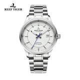 Reef Tiger Dress Luminous Date Steel White Dial Watches RGA8015