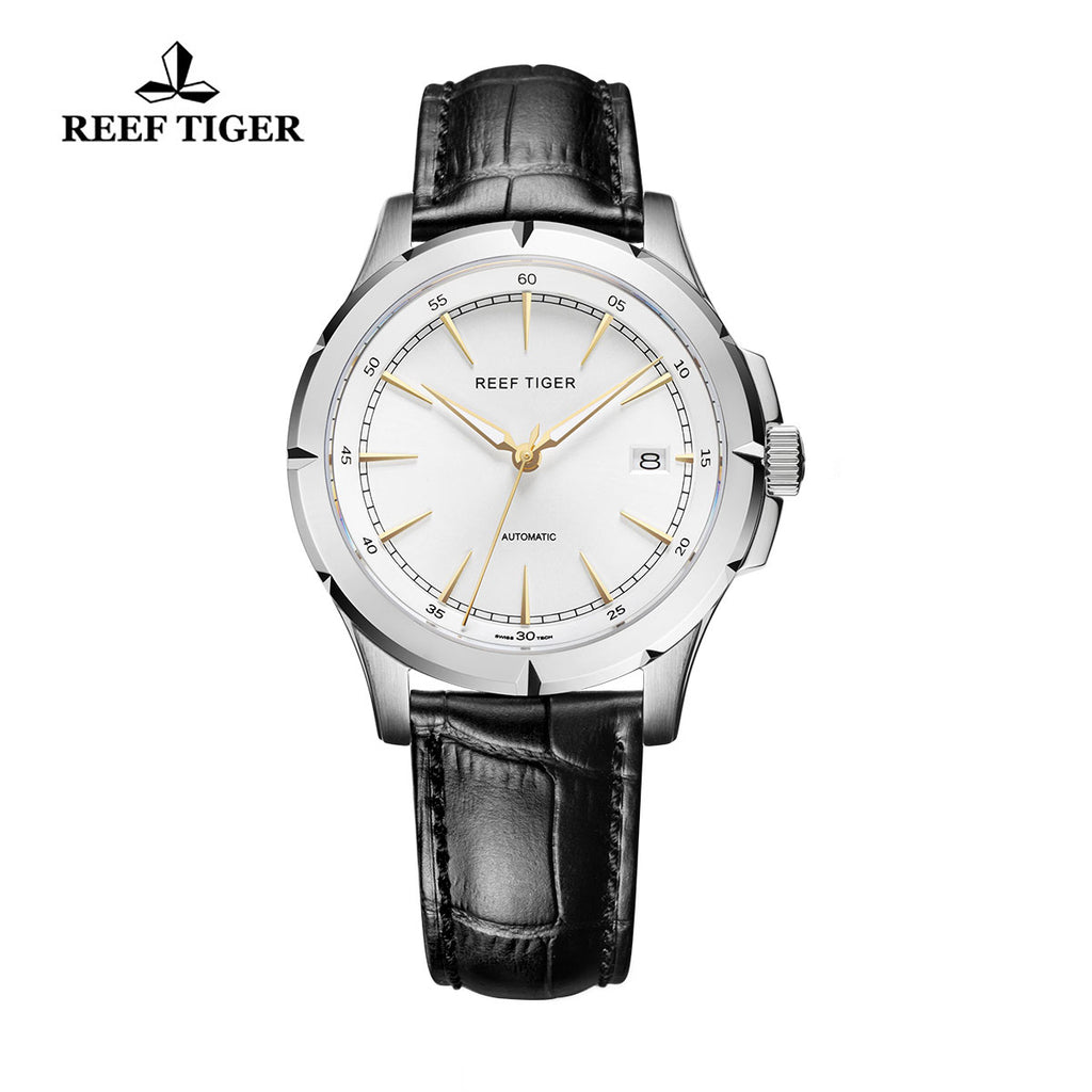 Reef Tiger Mens Business Genuine Leather Strap 316L Steel Automatic Watch RGA819