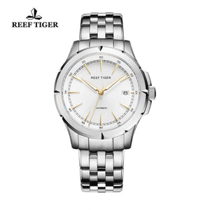 Reef Tiger Mens Business 316L Steel Yellow Gold Big Dial Automatic Watch RGA819
