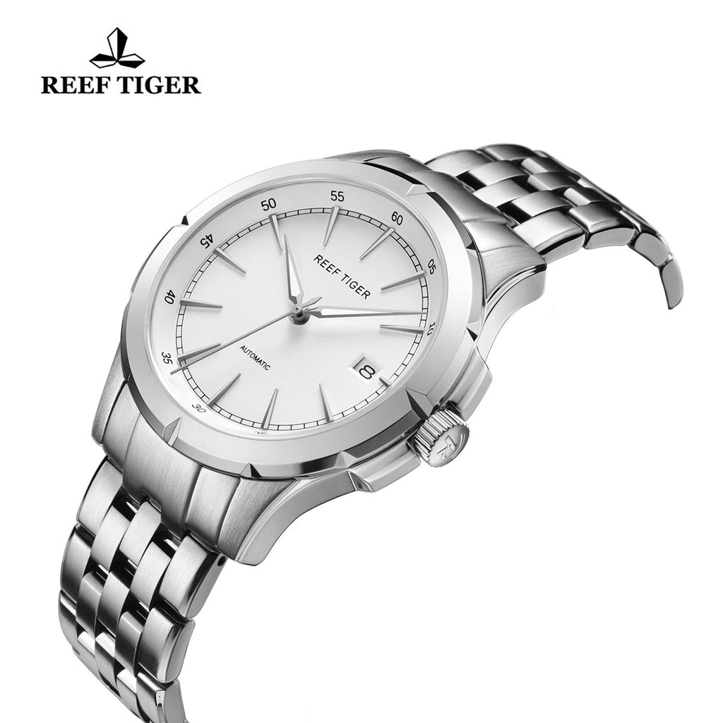 Reef Tiger Mens Business White Dial 316L Steel Automatic Watch RGA819
