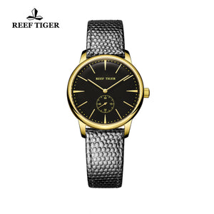 Reef Tiger Yellow Gold Black Dial Leather Strap Womens Watch RGA820