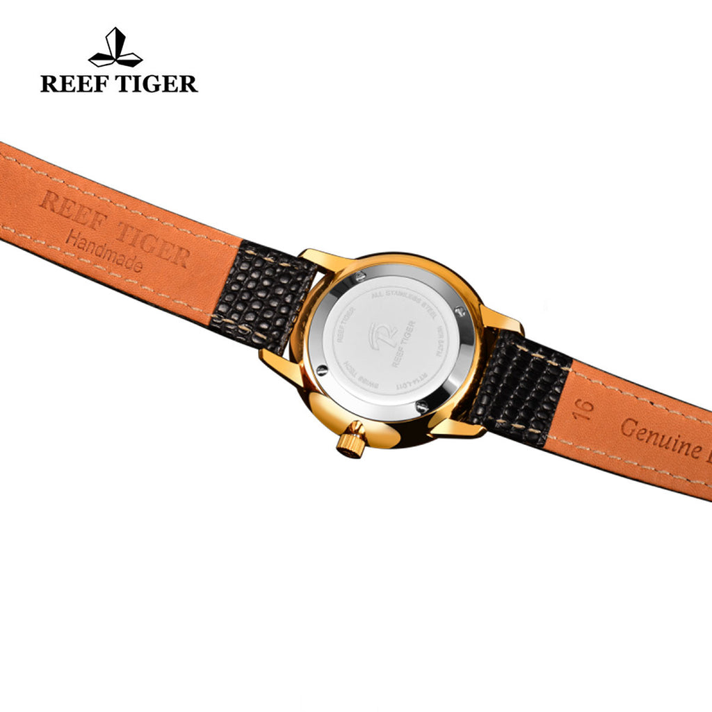 Reef Tiger Yellow Gold White Dial Leather Strap Womens Watch RGA820