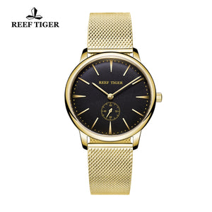Reef Tiger Yellow Gold Black Dial Mens Watch RGA820