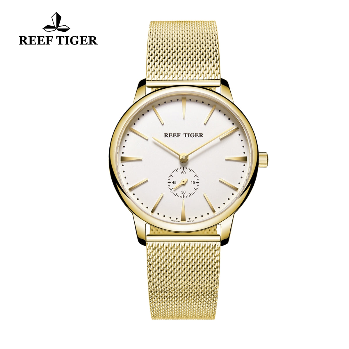 Reef Tiger Ultra Thin Yellow Gold White Dial Mens Watch RGA820