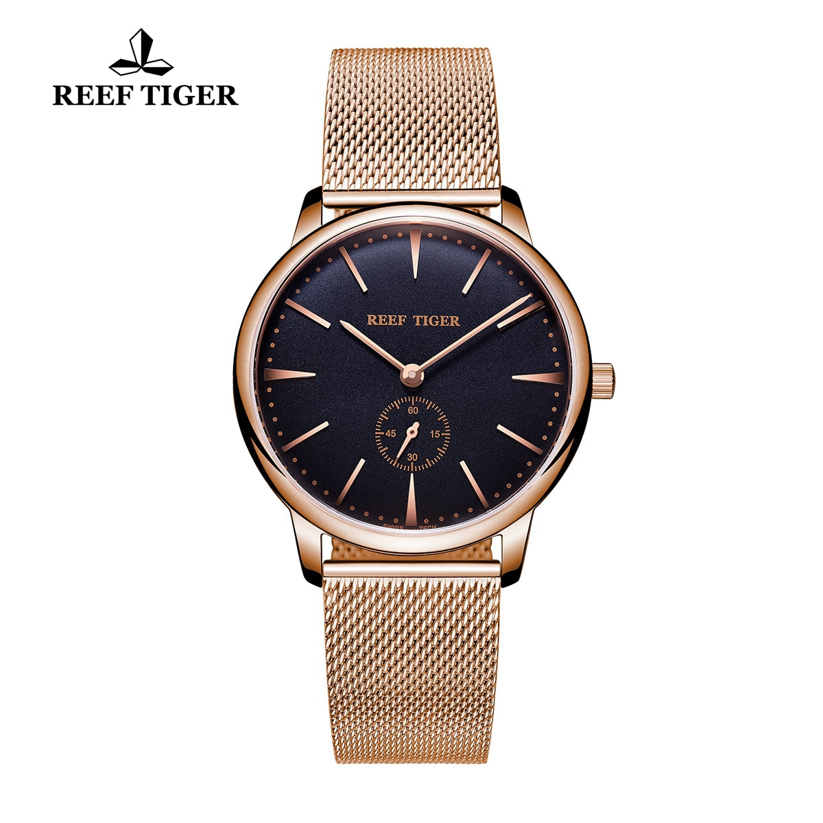 Reef Tiger Couple Watches Ultra Thin Rose Gold Black Dial Mens Watch RGA820