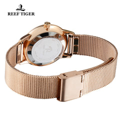Reef Tiger Couple Watches Ultra Thin Rose Gold White Dial Mens Watch RGA820