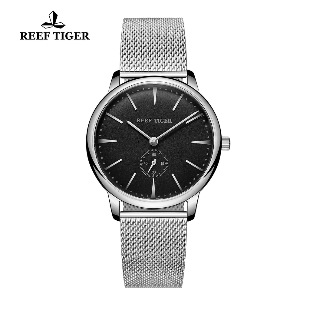 Reef Tiger Couple Watches Ultra Thin Stainless Steel Black Dial Mens Watch RGA820