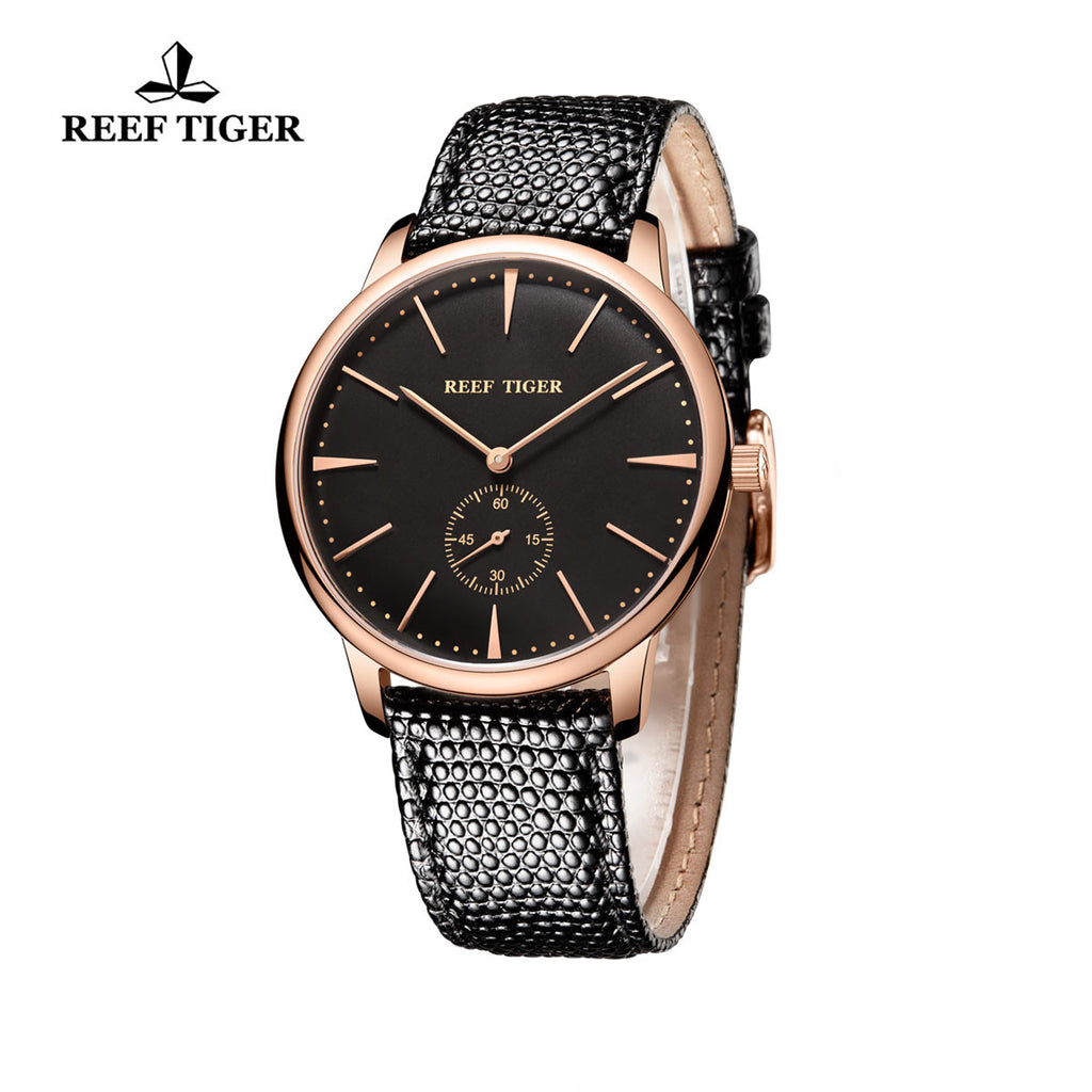 Reef Tiger Couple Watches Ultra Thin Rose Gold Black Dial Leather Strap Mens Watch RGA820