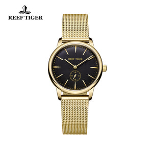 Reef Tiger Yellow Gold Black Dial Womens Watch RGA820