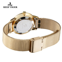 Reef Tiger Couple Watches Yellow Gold White Dial RGA820