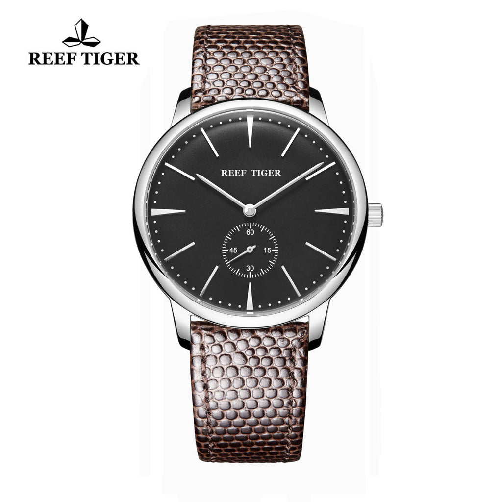 Reef Tiger Couple Watches Ultra Thin Steel Black Dial Leather Strap Mens Watch RGA820