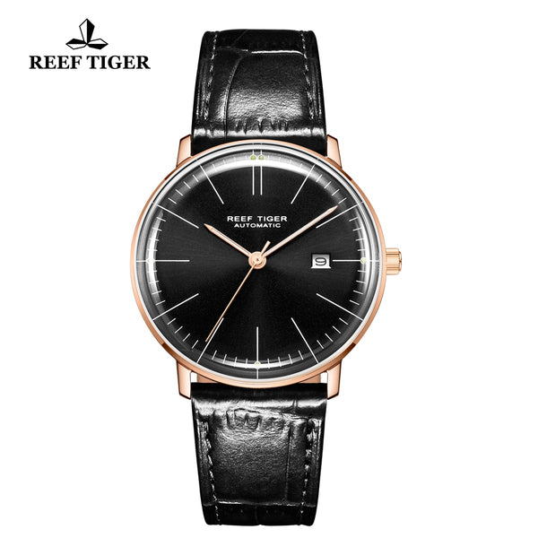 Reef Tiger Classic Legend Fashion Men Rose Gold Genuine Leather Strap Automatic Watches RGA8215-PBB