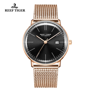Reef Tiger Classic Legend Fashion Men Rose Gold Black Dial Automatic Watches RGA8215-PBP