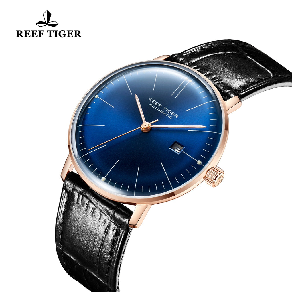 Reef Tiger Classic Legend Fashion Men Rose Gold Genuine Leather Strap Automatic Watches RGA8215-PLL