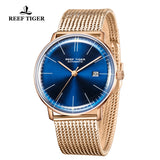 Reef Tiger Classic Legend Fashion Men Rose Gold Blue Dial Automatic Watches RGA8215-PLP