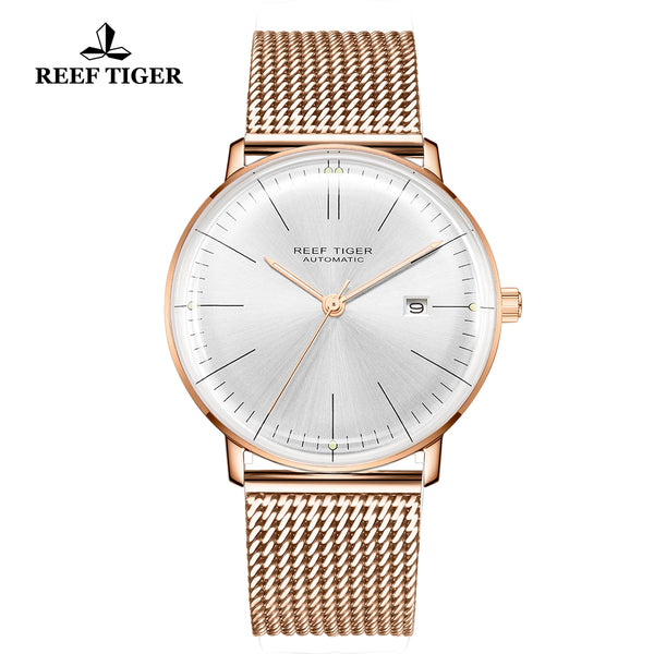 Reef Tiger Classic Legend Fashion Men Rose Gold White Dial Automatic Watches RGA8215-PWP