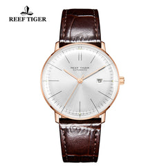 Reef Tiger Classic Legend Fashion Men Rose Gold Genuine Leather Strap Automatic Watches RGA8215-PWS
