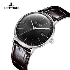 Reef Tiger Classic Legend Fashion Men Steel Genuine Leather Strap Automatic Watches RGA8215-YBB