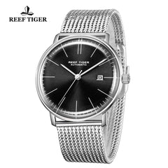 Reef Tiger Classic Legend Fashion Men Stainless Steel Black Dial Automatic Watches RGA8215-YBY
