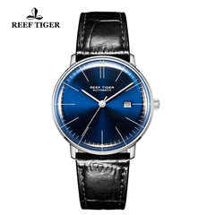Reef Tiger Classic Legend Fashion Men Steel Genuine Leather Strap Automatic Watches RGA8215-YLL