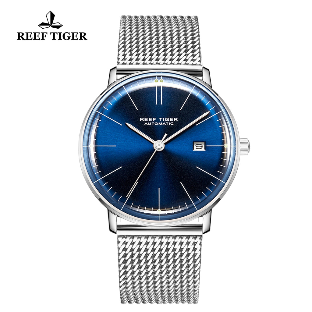 Reef Tiger Classic Legend Fashion Men Stainless Steel Blue Dial Automatic Watches RGA8215-YLY