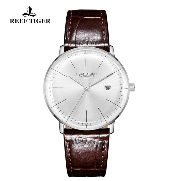 Reef Tiger Classic Legend Fashion Men Steel Genuine Leather Strap Automatic Watches RGA8215-YWS