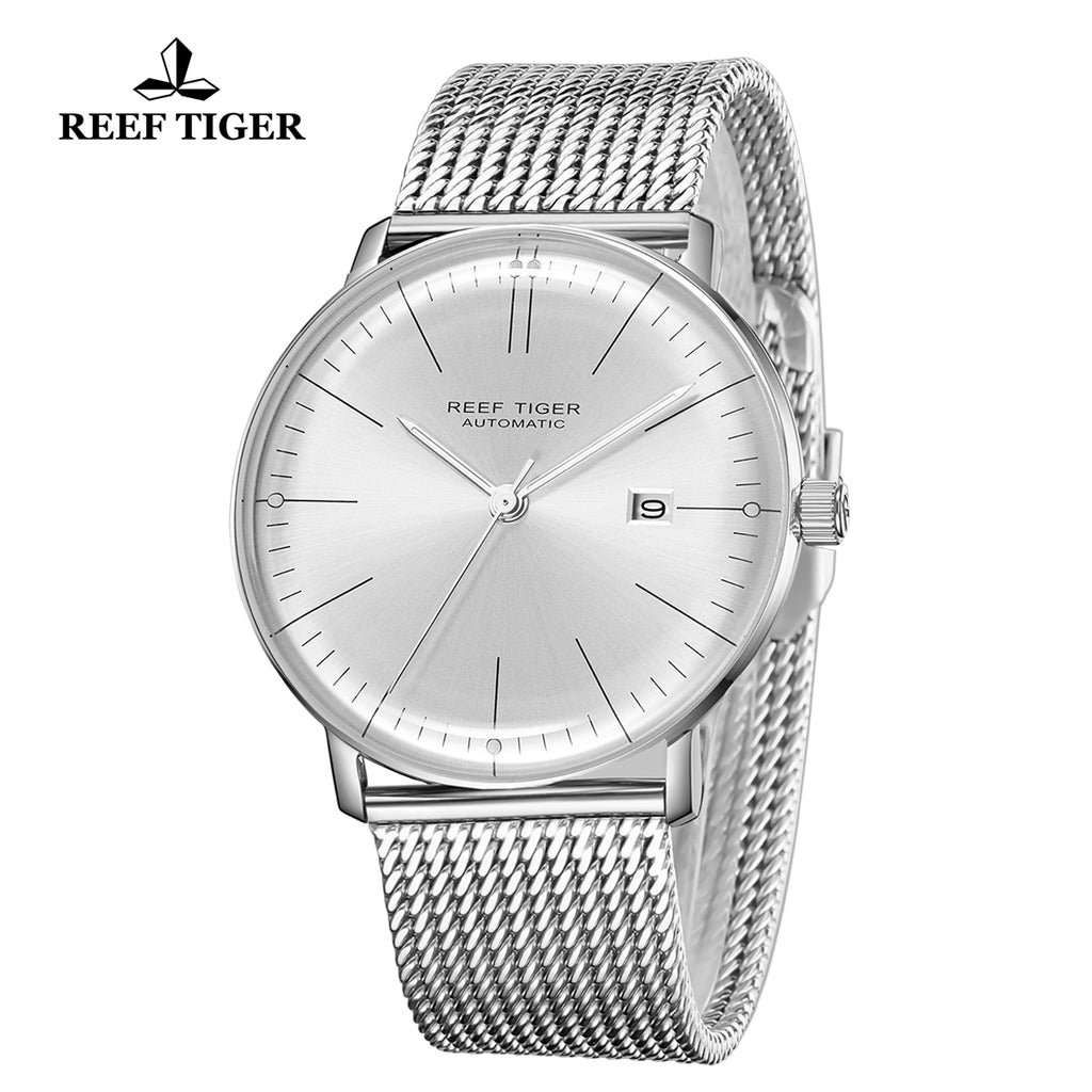 Reef Tiger Classic Legend Fashion Men Stainless Steel White Dial Automatic Watches RGA8215-YWY