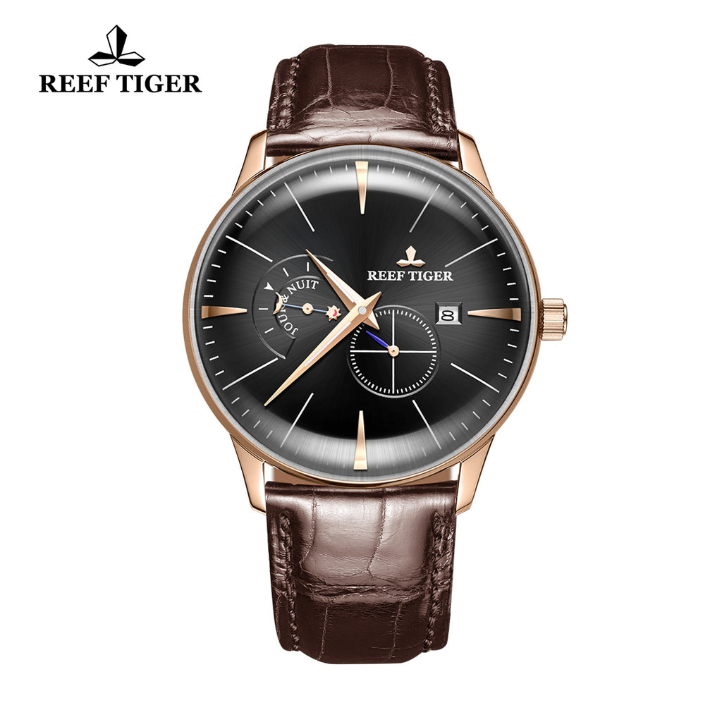 Reef Tiger Classic Artisan Mens Genuine Leather Strap Automatic Watches RGA8219-PBB
