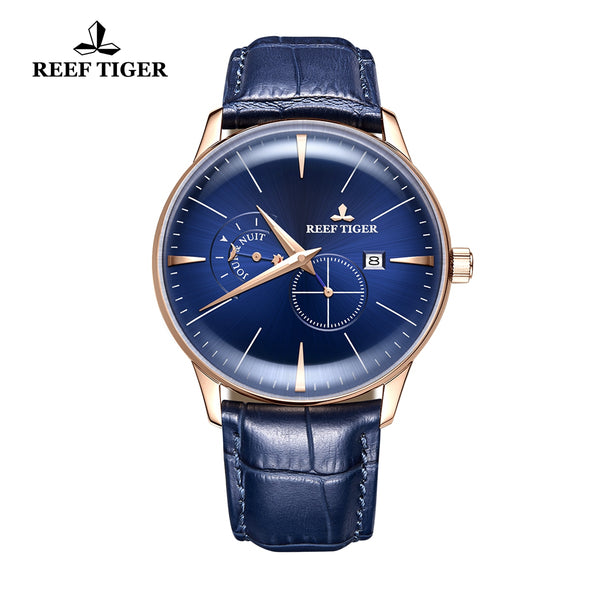 Reef Tiger Classic Artisan Men Blue Dial Genuine Leather Strap Automatic Watches RGA8219-PLB
