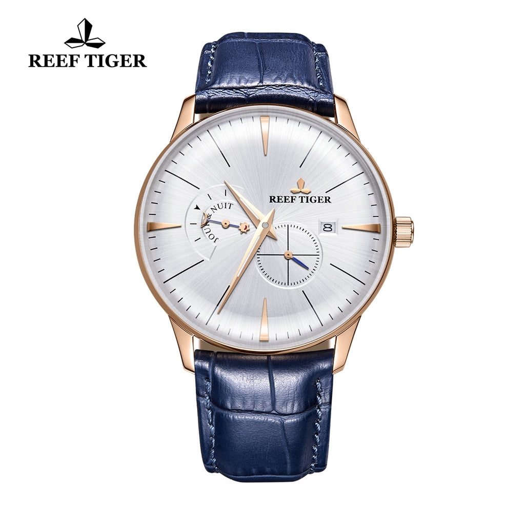 Reef Tiger Classic Artisan Luxury Men Genuine Leather Strap Automatic Watches RGA8219-PWB