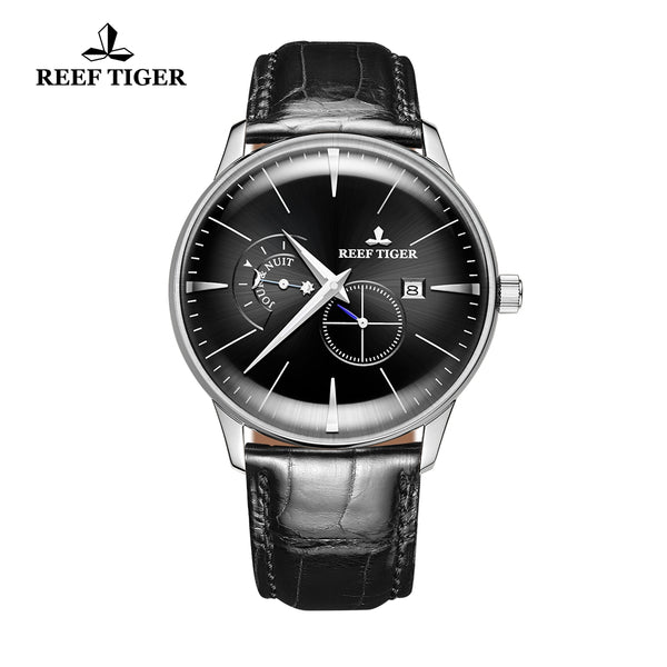 Reef Tiger Classic Artisan Fashion Men Steel Genuine Leather Strap Automatic Watches RGA8219-YBB