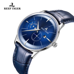 Reef Tiger Classic Artisan Fashion Steel Men Genuine Leather Strap Automatic Watches RGA8219-YLB