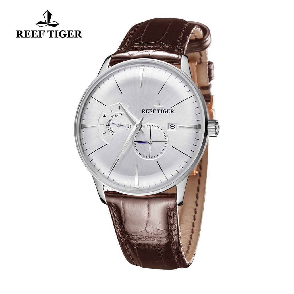 Reef Tiger Classic Artisan Luxury Mens Steel Leather Strap Automatic Watches RGA8219-YWB