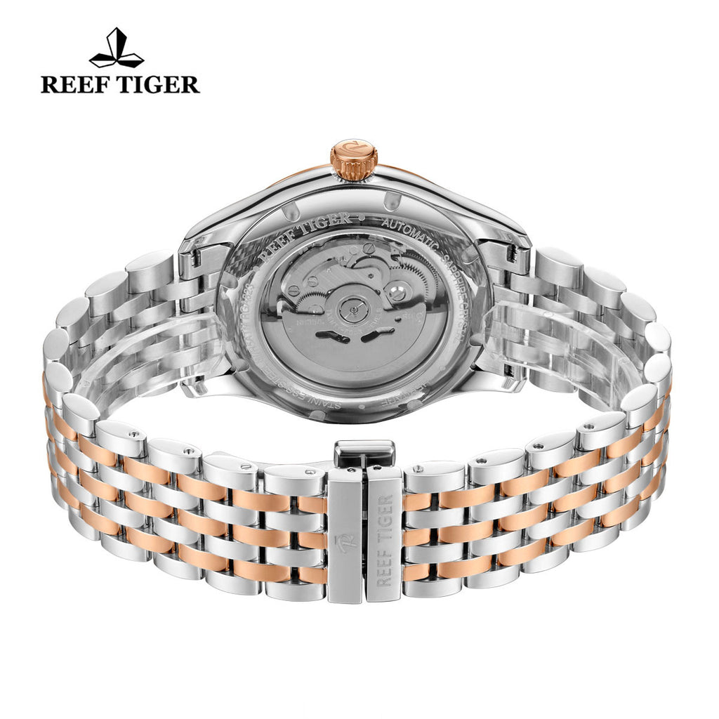 Reef Tiger Black Dial Stainless Steel Rose Gold Tone Automatic Watches RGA823G