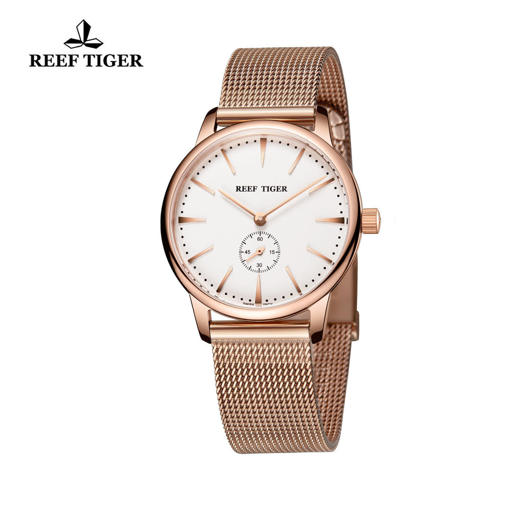 Reef Tiger Couple Watches Ultra Thin Rose Gold White Dial Womens Watch RGA820