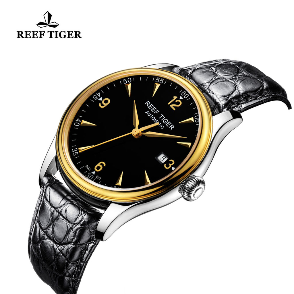 Reef Tiger Business Mens Yellow Gold Steel Black Dial Alligator Strap Watch with Date RGA823