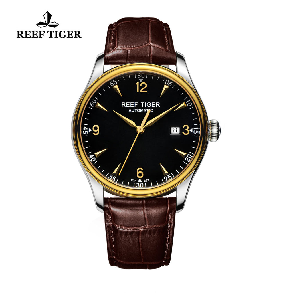 Reef Tiger Business Mens Yellow Gold Steel Black Dial Leather Strap Watch with Date RGA823