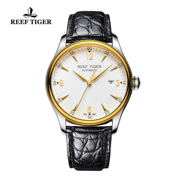Reef Tiger Business Mens Yellow Gold Steel White Dial Alligator Strap Watch with Date RGA823